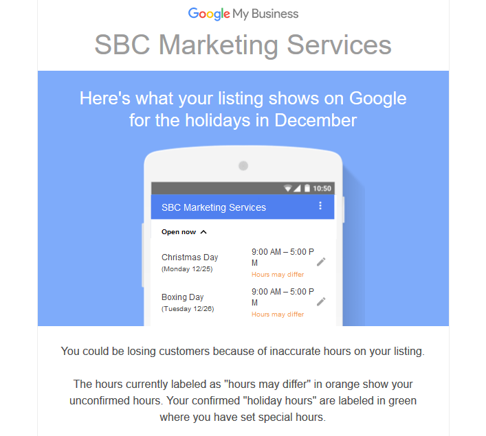 Google Special Hours Email
